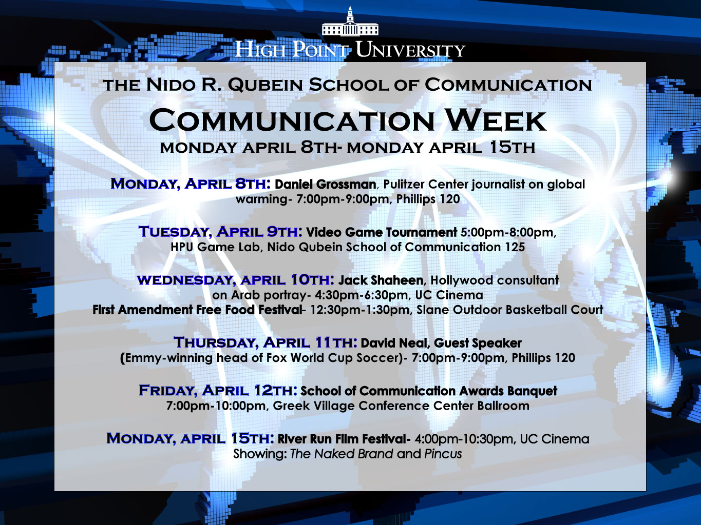 Communication Week Lineup