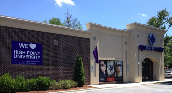 Eye Care Center and many other partners show their support by hanging banners on outside their business.