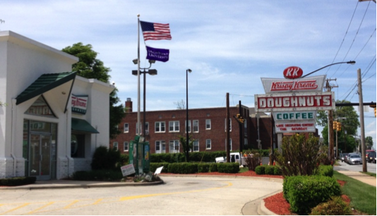 Krispy Kreme shows their support by flying an HPU flag under the American flag.