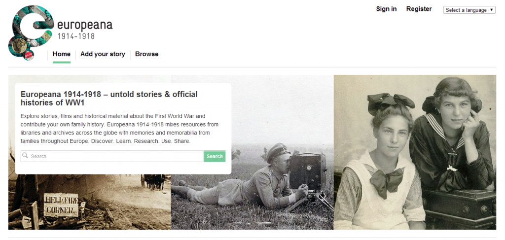 Homepage of Europeana website