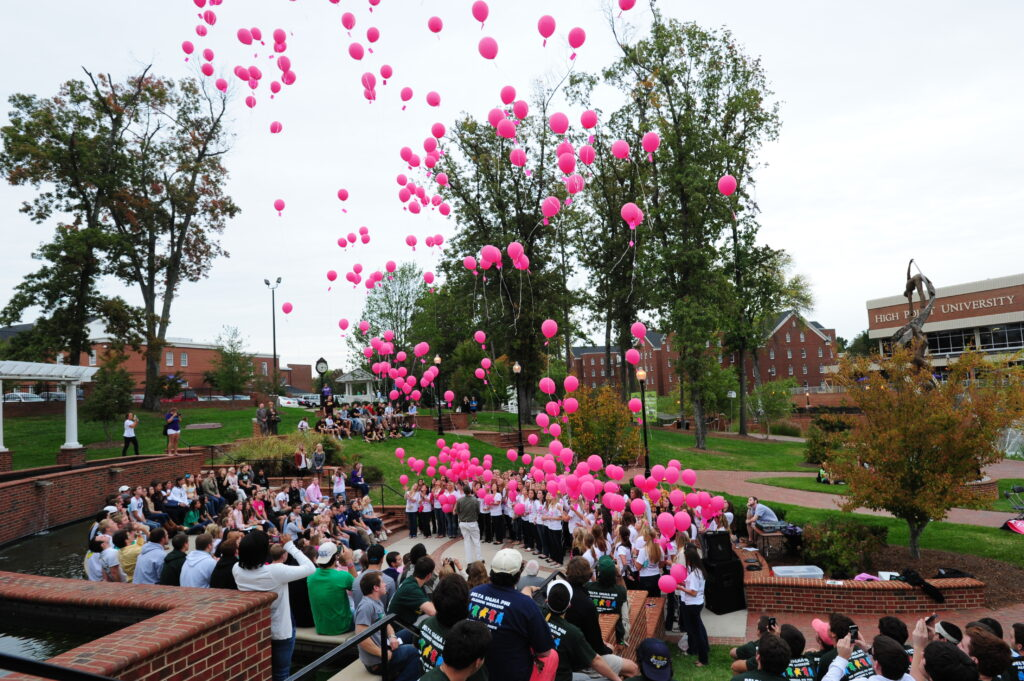Hight Point University's ZTA releases balloons for cancer victims