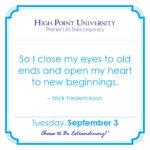 CALENDAR] August 14, 2019 | High Point University | High