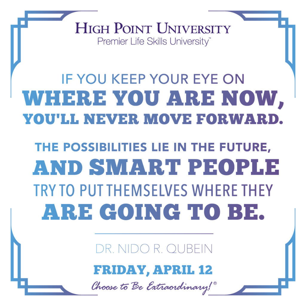 If you keep your eye on where you now, you'll never move forward. The possibilities lie in the future, and smart people try to put themselves where they are going to be. - Dr. Nido R. Qubein
