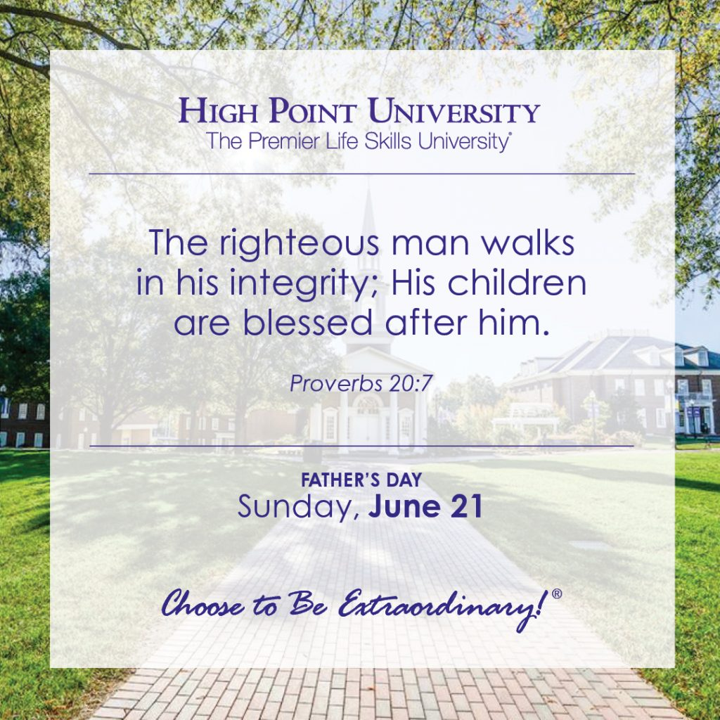 The righteous man walks in his integrity; His children are blessed after him.-Proverbs 20:7