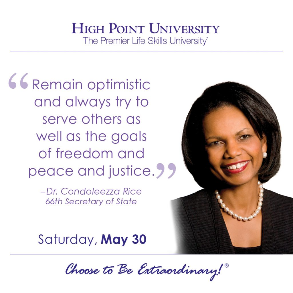 Remain optimistic and always try to server others as well as the goals of freedom and peace and justice. - Dr. Condoleezza Rice