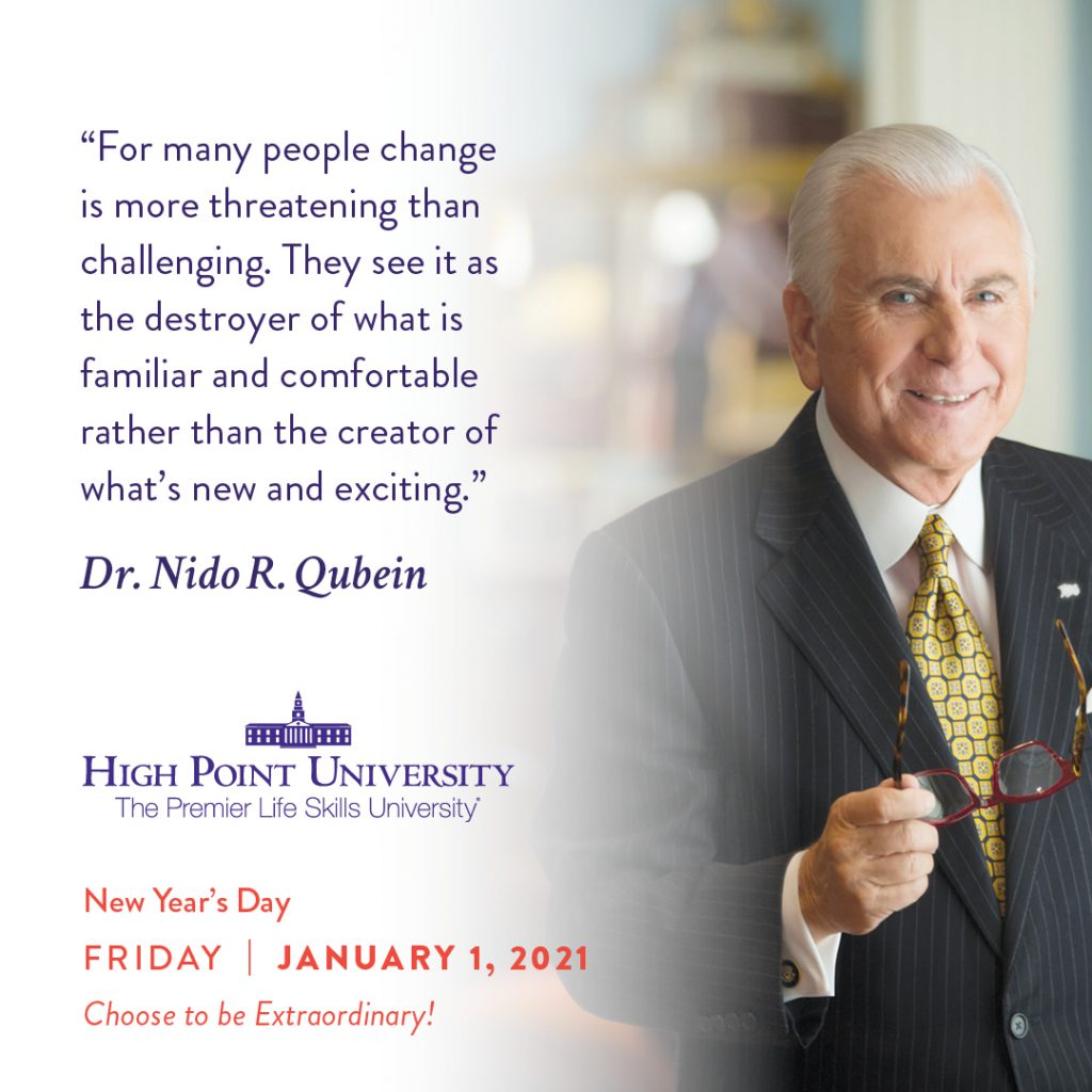 January 1 2021 daily motivation dr. Nido Qubein quote