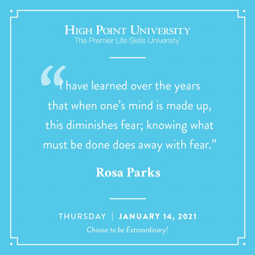 January 14 2021 daily motivation Rosa Parks Quote