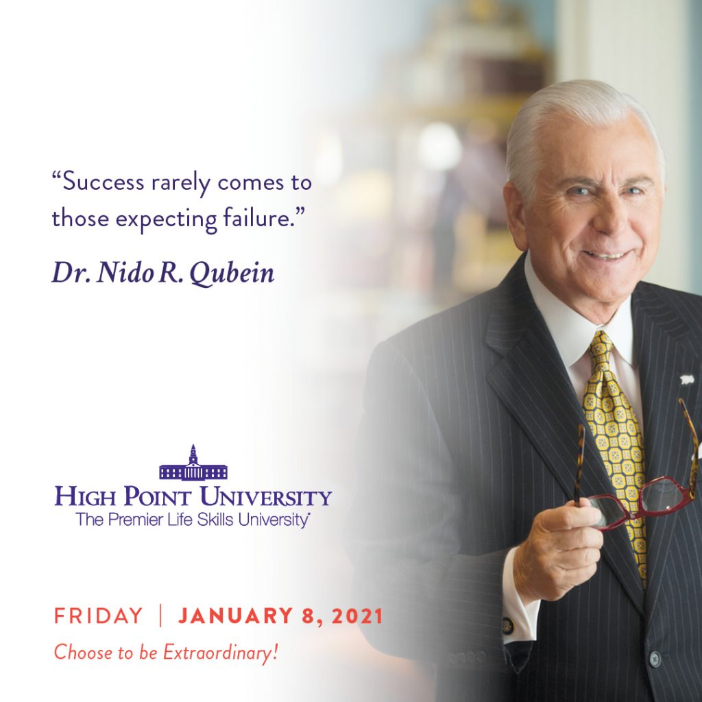 January 8 2021 daily motivation dr. Nido Qubein quote