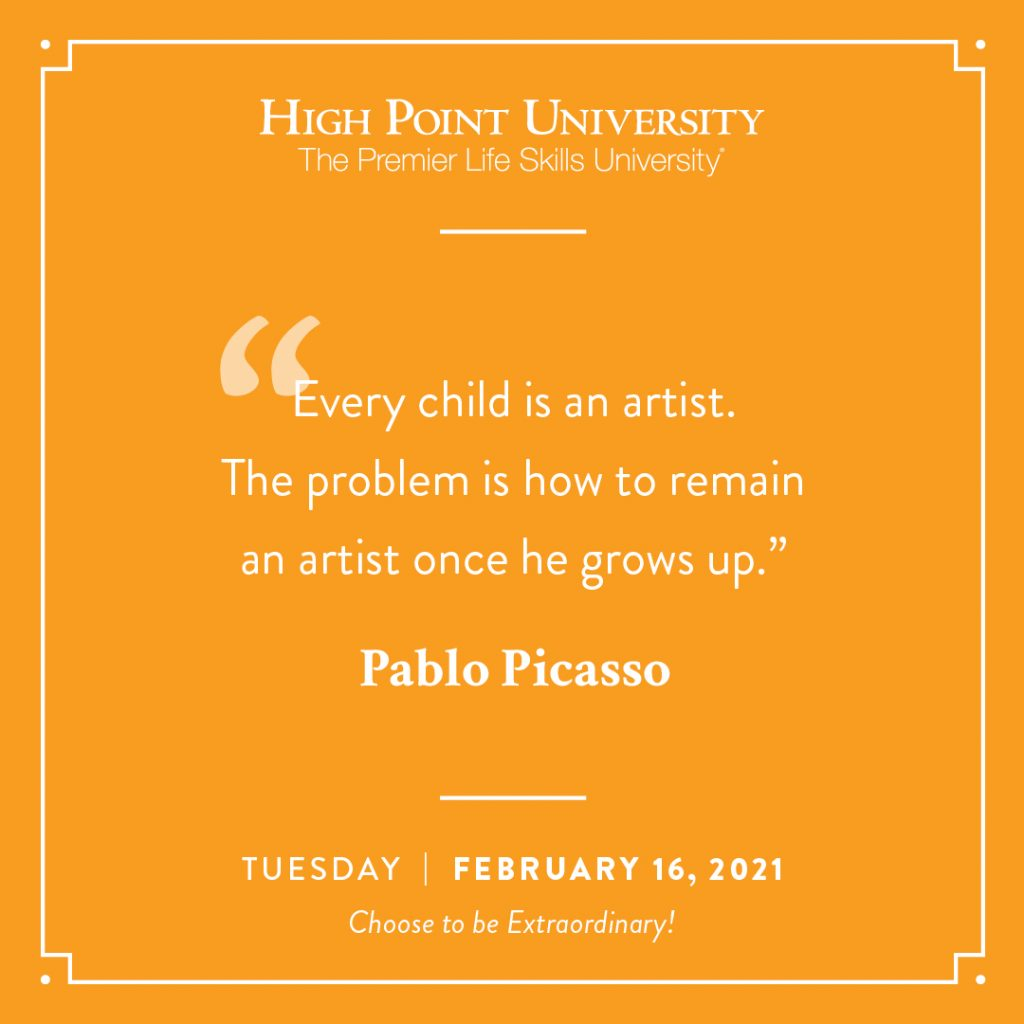 February 16 2021 daily motivation Pablo Picasso Quote