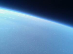 The photo, taken by one of the cameras in the balloon's cargo, shows the view of the Earth from the edge of space.