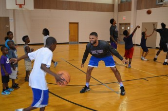 Basketball Players and Recreation Services Volunteer at Boys Night Out