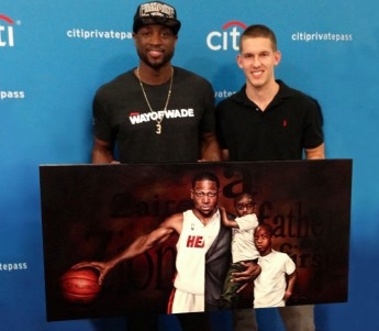 Junior Creates, Presents Portrait to NBA Star Dwyane Wade