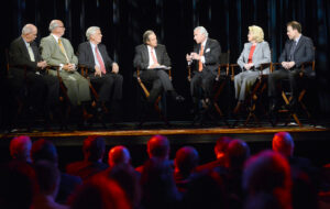 Pictured from left are panelists Dr. Jim Merrill, superintendent of Wake County Schools; Jim Goodmon, president and CEO of Capitol Broadcasting Company; Bill Cobey, chairman of the State Board of Education; Chris William, moderator and executive producer for Carolina Business Review; Dr. Nido Qubein, HPU president; Rep. Linda P. Johnson, N.C. House of Representatives; and Dr. Heath Morrison, superintendent of Charlotte-Mecklenburg Schools.