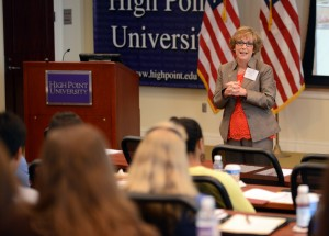 Gail Tuttle, vice president of the office of student life, welcoming members of Camus Compact to HPU.