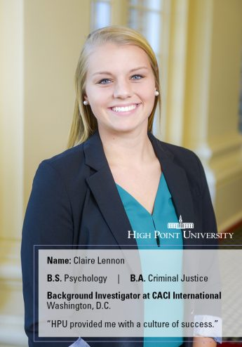 Class of 2016 Profile: Claire Lennon Helps Ensure National Security