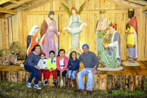 A life-size nativity scene, donated to the university by Mark Phillip of Phillips Collection Furniture, provides a holiday photo opportunity for families during last year's event.