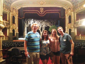 From left to right, Grieb, Hutchins, Carskadden and Blozan tour the National Theatre of Costa Rica.