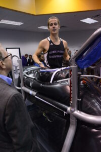 High Point Unviersity Athlete at Biomechanics lab