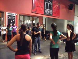HPU students during their first Flamenco lesson in Spain.