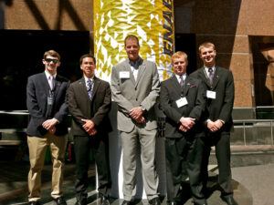Pictured are students and staff at the ENACTUS National Exposition in Cincinnati. From left to right are McNinch, Ricchini, Nielsen, Woods and Hughes.