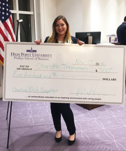 "Charlotte Thompson and her ""Water You Saving"" product proposal won first prize and $500 at HPU's annual Elevator Pitch Competition."
