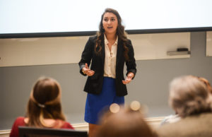 De Lena competes in HPU's Elevator Pitch Competition.