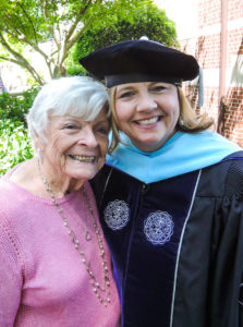 Lipe and her mom, Carolyn Welborn, after commencement Saturday
