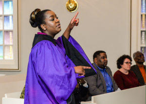 Tesia Harrison, 2015 graduate, directed the choir during last year's Black Heritage Service