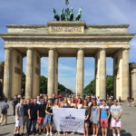 "High Point University students visit Brandenburg Gate in Berlin during their ""Global Business Maymester"" trip."