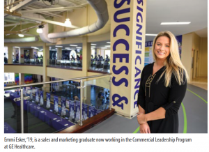 Emmi Esker, '19, is a sales and marketing graduate now working in the Commercial Leadership Program at GE Healthcare.