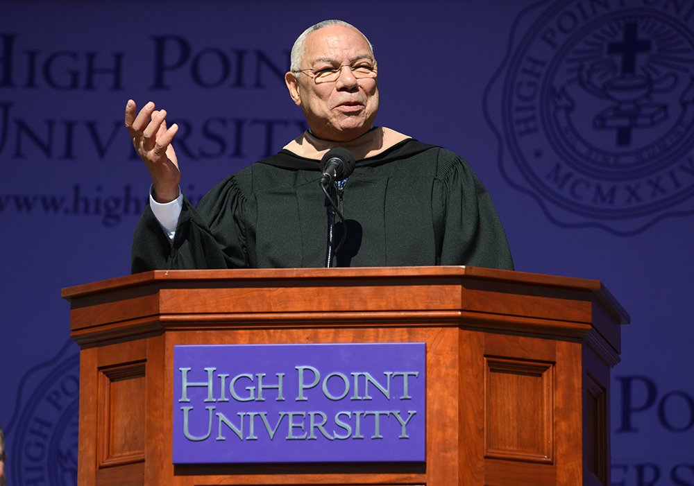 General Colin Powell delivers his commencement address to High Point University students.