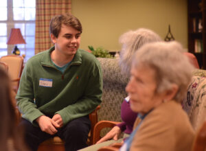 Jimmy Connor interacts with some of the residents after the session.