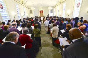 Community members filled the Hayworth Chapel for the event.