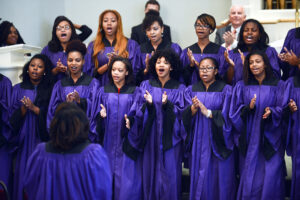 The university's Genesis Gospel Choir performed.