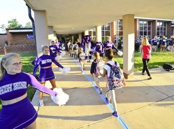 Pep Band, Cheerleaders and Prowler Welcome Montlieu Academy Students