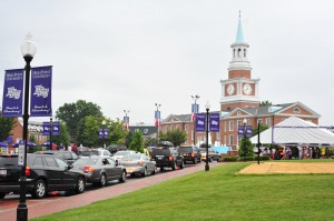 Cars line up early Saturday morning for High Point University's Move-In Day.