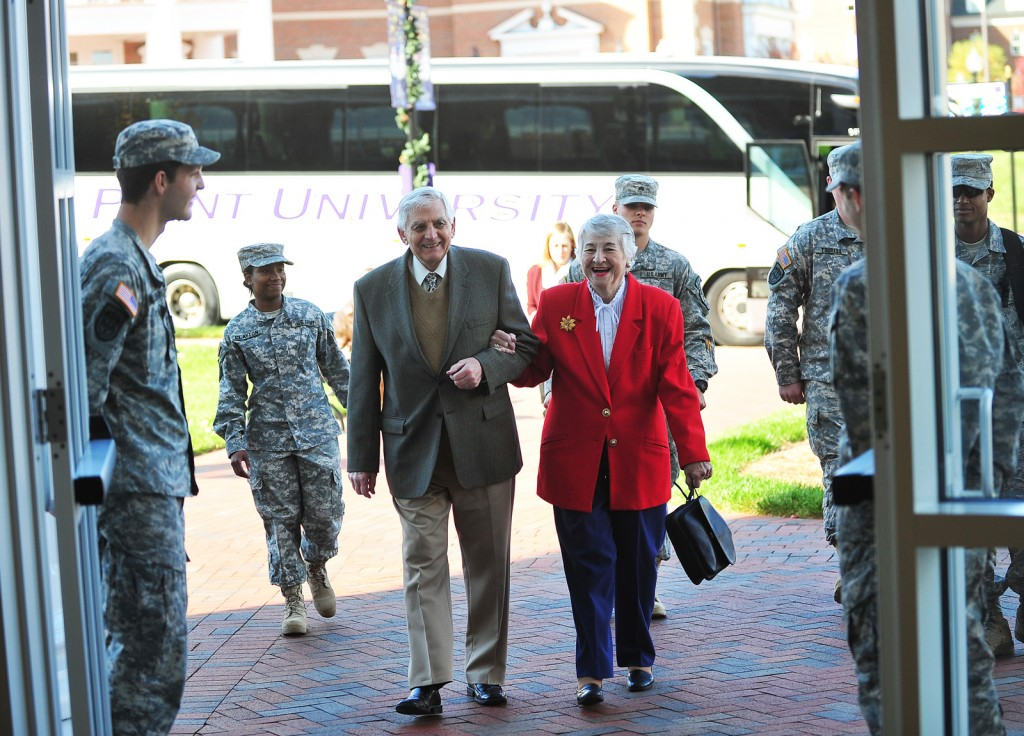 HPU ROTC members welcome Grace and Frank Sowinski to the Veterans Day luncheon on campus.