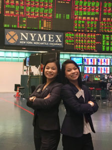 HPU in the City: Kaitlyn (left) and Kristen Doshier, sisters from Dallas, are pictured in the former NYMEX Trading Floor, which the group toured during their visit.