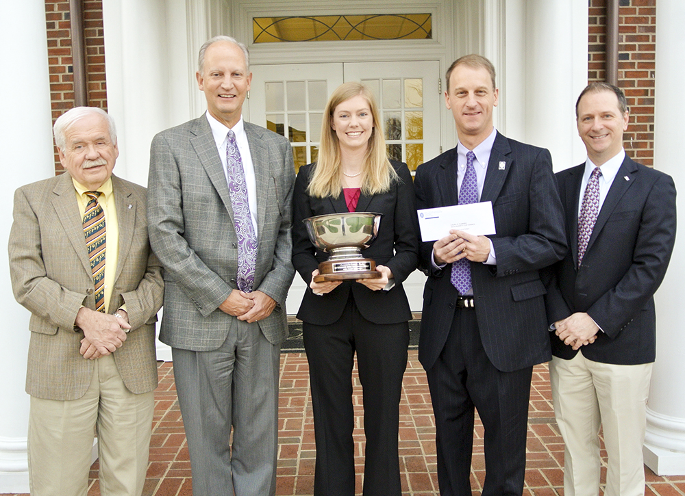 Pictured from left to right at today's Haverty Cup ceremony are Dr. Richard Bennington, professor in the School of Art and Design at HPU; Steve Burdette, executive vice president of Stores of Haverty Furniture Companies, Inc.; Laura Fleming, HPU senior and recipient of the 2014 Haverty Cup; Scott T. Miles, vice president of Stores; and Dr. John Turpin, dean of the School of Art and Design.