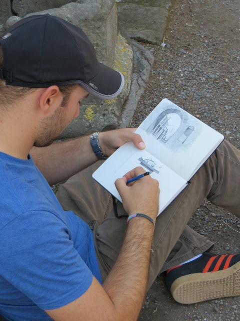 David Vidri sketches the House of the Faun in Pompeii.