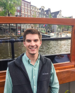 Berwager on the canals of Amsterdam as part of his Global Business Maymester trip last May