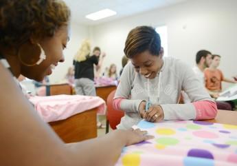 Psychology Class Makes Blankets for Children
