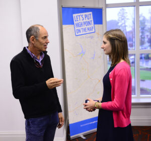 Netflix co-founder Marc Randolph spoke with HPU freshman Mandy Engelman about her blog during his visit.