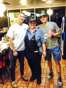 "Warrick, Rachel ""Momma"" Lee and HPU student Ben Habicht during a weekly ""Thursday Night WaHo"""