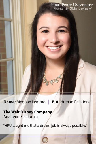 Class of 2019 Outcomes: Meghan Lemmo Works for Disney