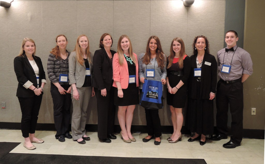 From left to right are Kayla Dolan, Allison Walker, Dr. Briana Fiser, Dr. Leslie Cavendish, Alyssa Springer, Kylie Foster, Tayla Curran, Dr. Joanne Altman and Jacob Brooks