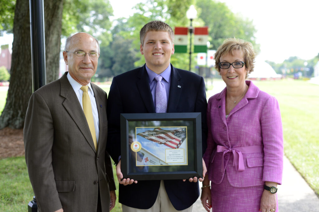 Pictured from left to right are Dr. Don Scarborough, HPU vice president for community relations; Tyler Steelman, Student Government Association president; and Gail Tuttle, vice president of the office of student life.