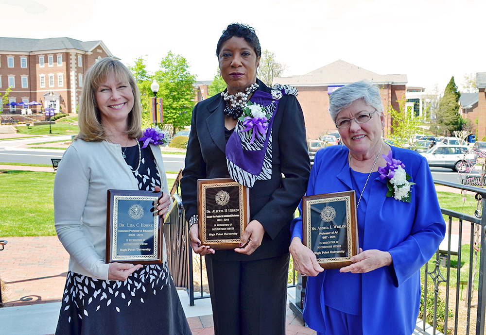 From left are HPU retiring professors Dr. Lisa Horne, Dr. Alberta Herron and Andrea Wheless.