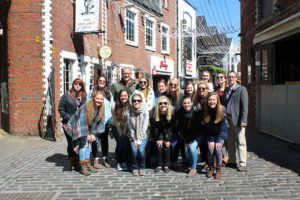 "Students visit Ashton Lane Glasgow during their ""Maymester"" trip to Scotland."