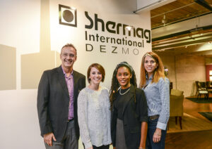 From left to right, Alex Adimari, president and chief operating officer for Shermag; Haley Daber, HPU interior design student and second place winner of the competition; HPU interior design student and first place winner Aria Real; and Nancy Villemure, vice president of marketing and commercial operation for Shermag, are pictured at the competition awards ceremony.